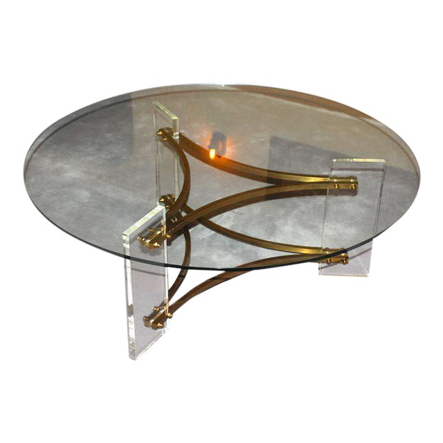 Charles Hollis Jones Brass and Lucite Coffee Table For Sale