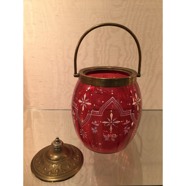 19th Century Biscuit Barrel Hand Enameled Cranberry Glass W/ Brass Lid & Handle For Sale - Image 10 of 11