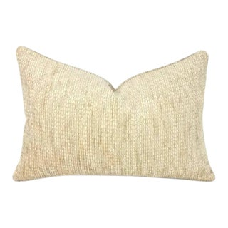 Schumacher Crafton Chenille Cornsilk Lumbar Pillow Cover For Sale