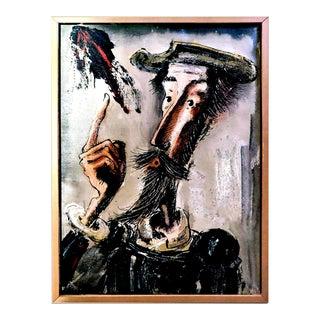 "Vintage ""Don Quixote De La Mancha"", Signed Expressionist Portrait Embellished Giclee For Sale"