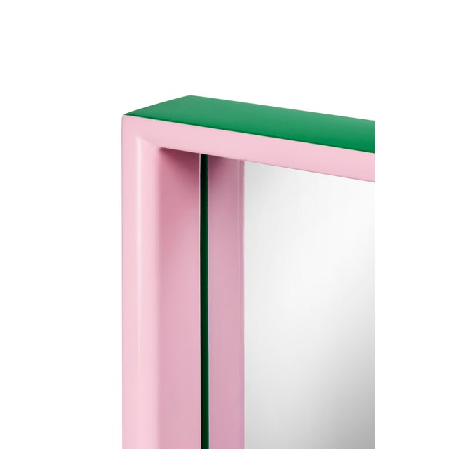 Large Rectangular Mirror in Kelly Green / Pink - Pentreath & Hall for The Lacquer Company For Sale - Image 4 of 5