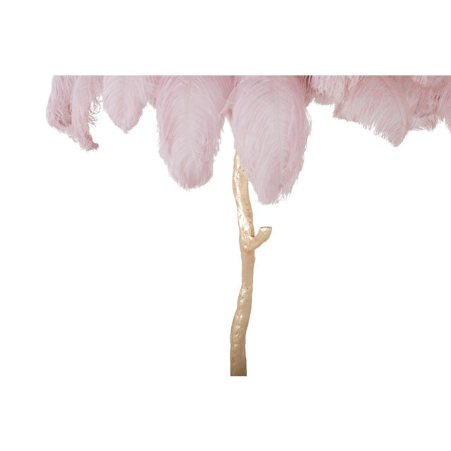 Resin Hollywood Regency Feather Palm Tree Floor Lamp in Gold and Pink For Sale - Image 7 of 8