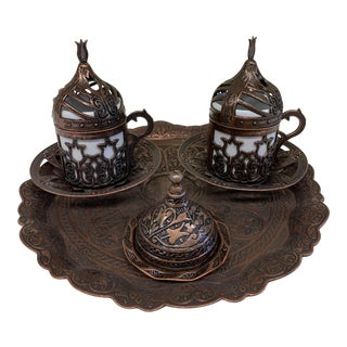 Vintage Copper Turkish Coffee Set For Sale