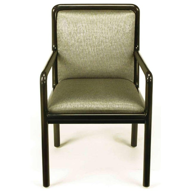 Four Martin Brattrud Ebonized & Upholstered Arm Chairs. - Image 2 of 9