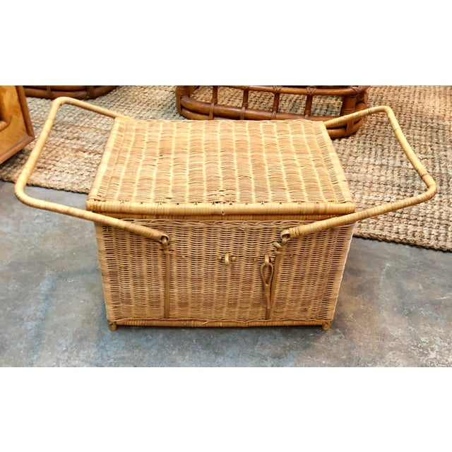 Tan French Rattan Picnic /Trunk Basket For Sale - Image 8 of 8