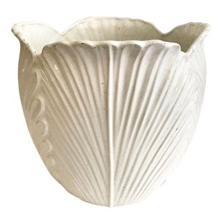Blanc Leaf White Ceramic Cache Pot For Sale