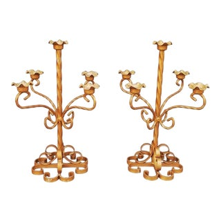 1960 French Iron Candelabras - a Pair For Sale