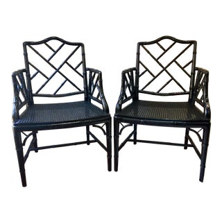 Vintage Chippendale Black Arm Chairs - Set of 2 For Sale