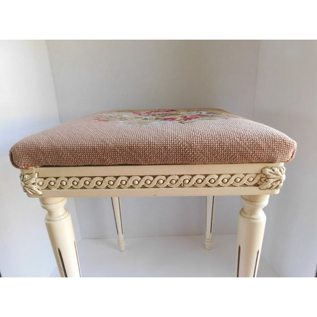 Vintage Petit Point Floral Bench/Table For Sale In New York - Image 6 of 13