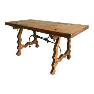 19th Century Spanish Trestle Table Desk With Iron Stretcher For Sale