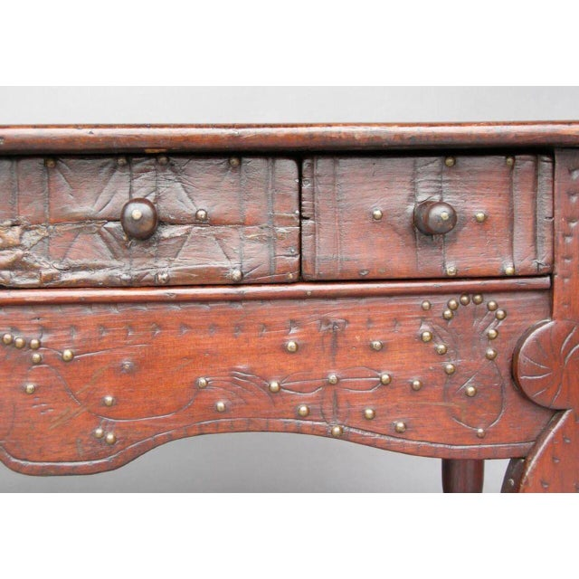 Rustic 19th Century Lion Foot Carved Nahuala Table with Studs, Carvings and Drawers For Sale - Image 3 of 6