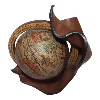 Mid Century Vintage Old World Globe With Leather Stand Made in Italy For Sale
