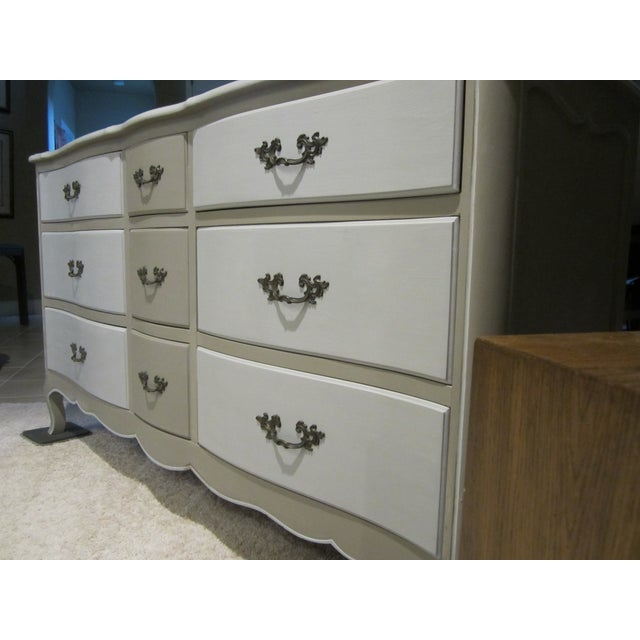 French Country Refinished Two Tone Gray Dresser - Image 10 of 11