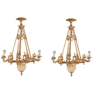 Pair of Crystal Beaded and Dore Bronze Louis XVI Style Chandeliers For Sale