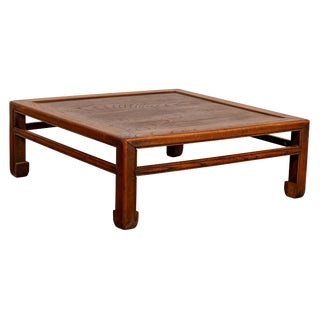Chinese Antique Elm Low Coffee Table With Side Horse Hoof Feet and Stretchers For Sale