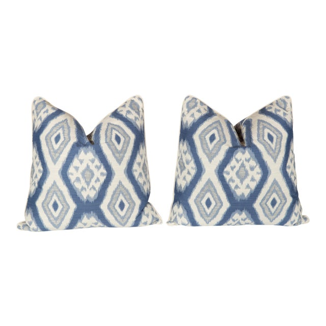 Custom Blue & Ivory Ikat Pattern Pillows - A Pair - Image 1 of 4