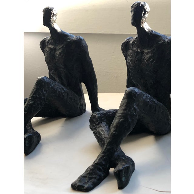Alberto Giacometti Mid 20th Century Modernist Brutalist Figurative Bronze Sculptures - a Pair For Sale - Image 4 of 7