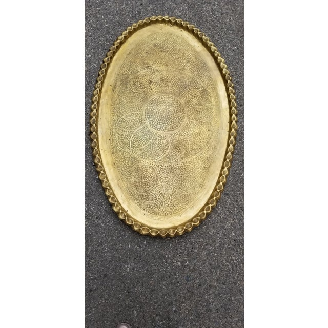 1920s Vintage Moroccan Brass Oval Tray/Table Top For Sale - Image 5 of 5