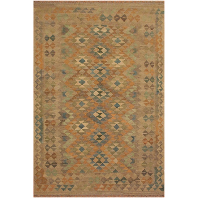 Blue Xara Gray/Blue Hand-Woven Kilim Wool Rug -5'0 X 6'9 For Sale - Image 8 of 8
