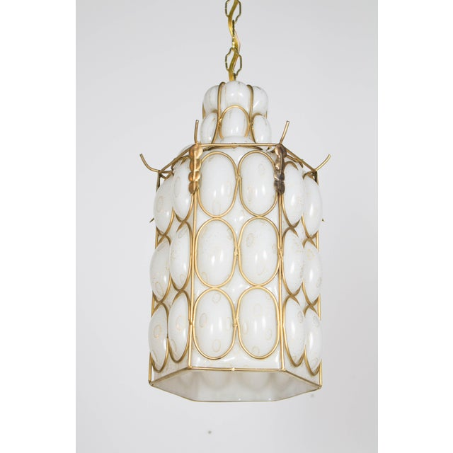 White and Gold Caged Glass Pendant For Sale - Image 4 of 5