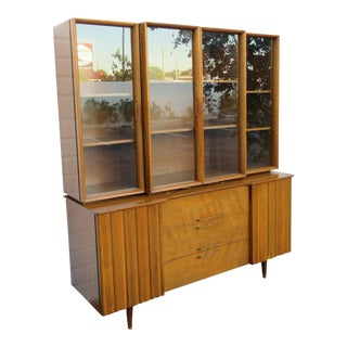 Mid Century Modern Two Part China Display Cabinet For Sale