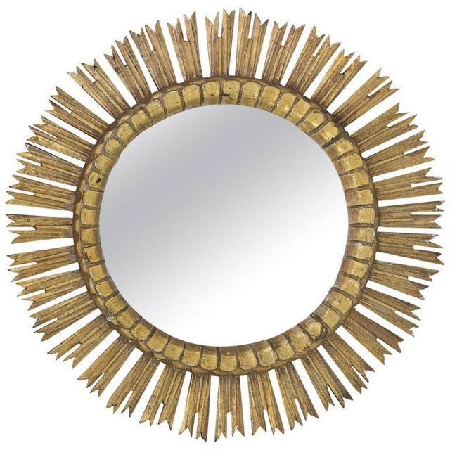 Spanish, 1950s Giltwood Sunburst Mirror With Carved Frame For Sale In New York - Image 6 of 6