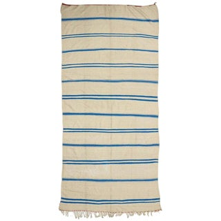 Aqua Blue and Cream Vintage Berber Moroccan Kilim Rug with Stripes For Sale