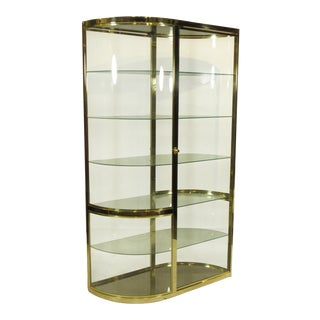 1960s Contemporary Brass and Glass Display Case