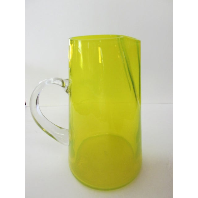 Mid-Century Yellow Glass Pitcher For Sale - Image 9 of 9