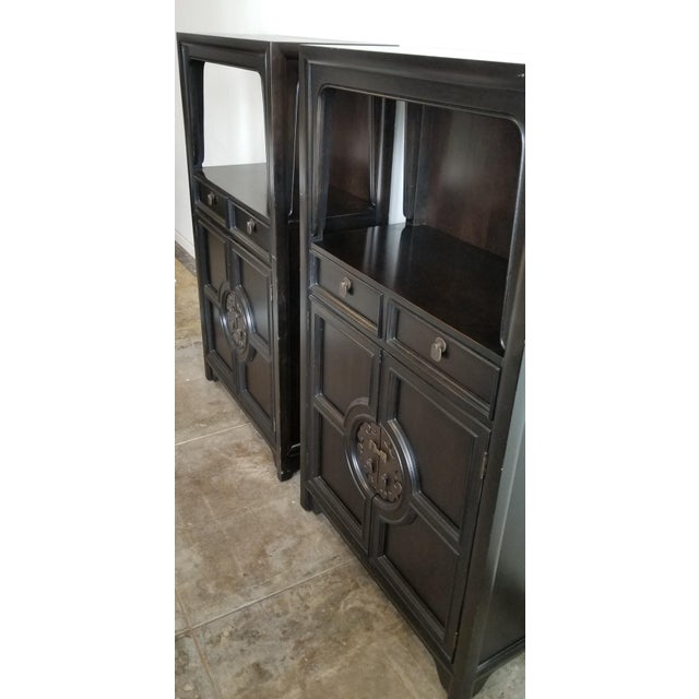 Asian Vintage Century Furniture Black Dry Bar Cabinets With Brass Hardware - a Pair For Sale - Image 3 of 9
