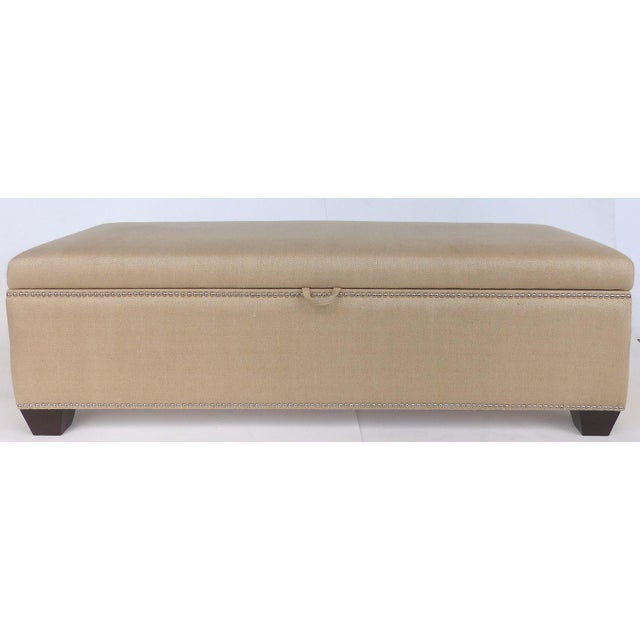 Brown Upholstered Blanket Chest Bench With Nail-Head Details For Sale - Image 8 of 8