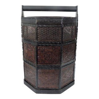 Fine Vintage Thai Ceremonial Bamboo & Cane Asian Wedding Chest / Three Tiered Basket (Sewing Box) For Sale