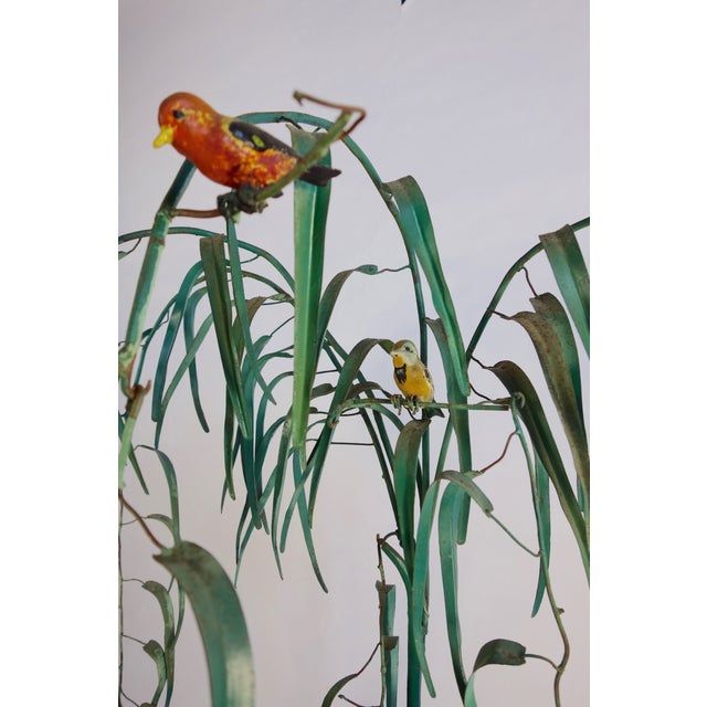 1940s Mid-Century Italian Tole Painted Tree with Birds For Sale - Image 5 of 7