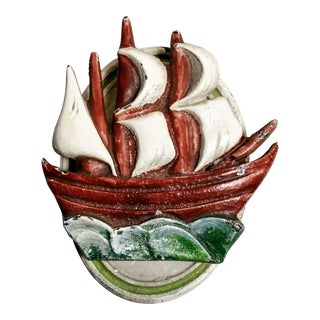 Vintage Ship Door Knocker Cast Iron Painted Doorknocker For Sale