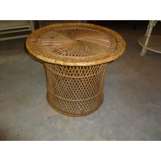 MCM Rattan Wicker Woven Round Side Table - Image 11 of 11