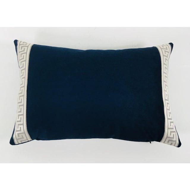 2010s Indigo Blue Plush Chenille Lumbar Pillows- a Pair For Sale - Image 5 of 6