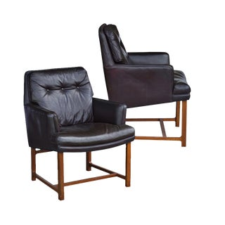 Brown Leather Dunbar Lounge Chairs - A Pair For Sale