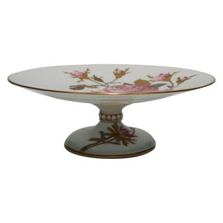 German Dessert or Cake Plate Tazza With Gold Gilt For Sale