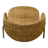 Image of Italian Mid-Century Armchairs in Beige Colored Rattan, 1950s For Sale