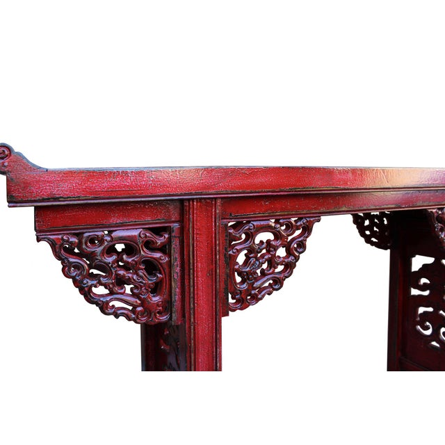 Chinese Distressed Red Lacquer Dragon Motif Apron Altar Console Table For Sale - Image 5 of 7