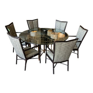 1980s Mid-Century Modern McGuire Dining Table and Chairs Set For Sale