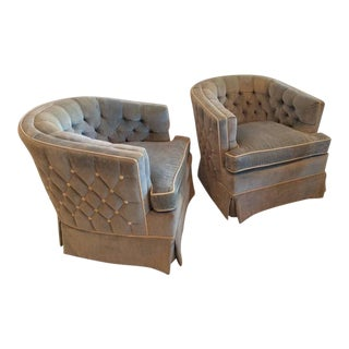 Vintage Hollywood Regency Button Tufted Barrel Tub Swivel Arm Chairs - a Pair