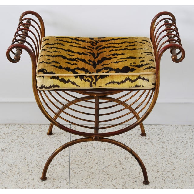 Scalamandre Velvet Tiger Hollywood Glam Italian Gilt Vanity Bench For Sale - Image 12 of 13