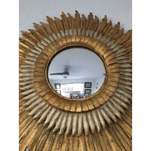 Spanish Baroque Double Layered Gold Leaf Gilt-Wood and Silvered Sunburst Mirror For Sale In Miami - Image 6 of 11