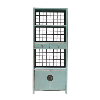 Blue Chinese Display Cabinet/Bookcase For Sale