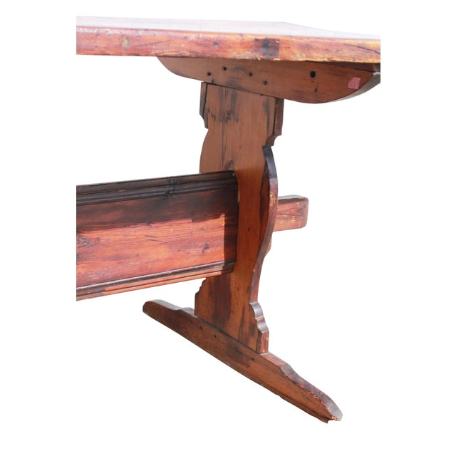Brown Antique Country Pine Farm Table For Sale - Image 8 of 13
