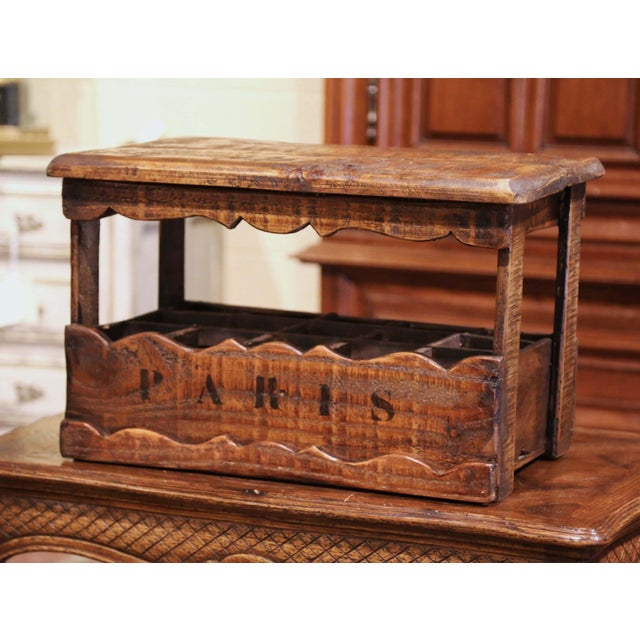 """Brown Old French Pine 15 Wine Bottle Storage Cabinet With """"Paris"""" Inscription For Sale - Image 8 of 8"""