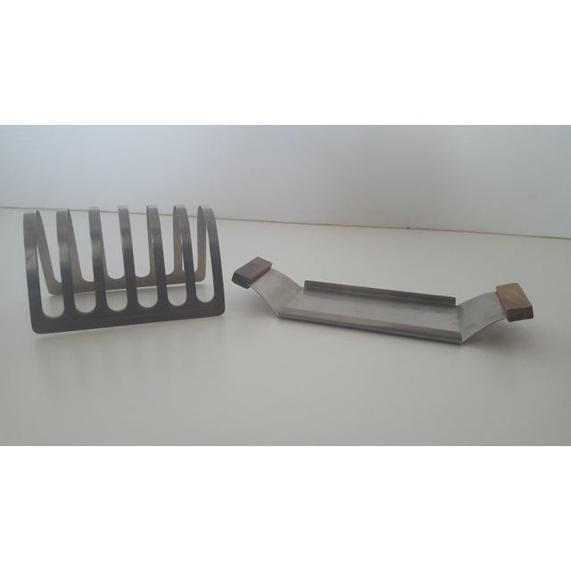 Mid Century Stainless Steel and Rosewood Toast Rack Holder For Sale - Image 9 of 11