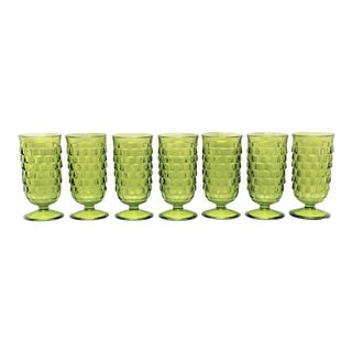 Mid-Century Green Water Glasses - Set of 7