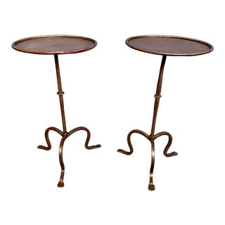 Spanish Gilt Iron Martini Side Tables - a Pair For Sale